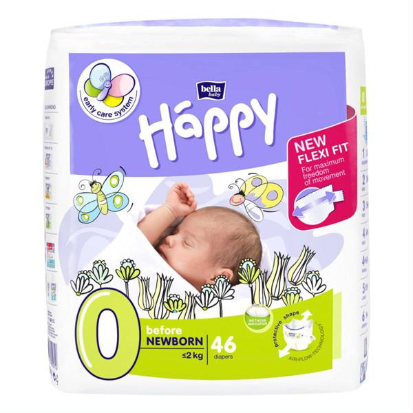 BELLA HAPPY BEFORE NEWBORN, sauskelnės kūdikiams, < 2 kg, 46 vnt. paveikslėlis