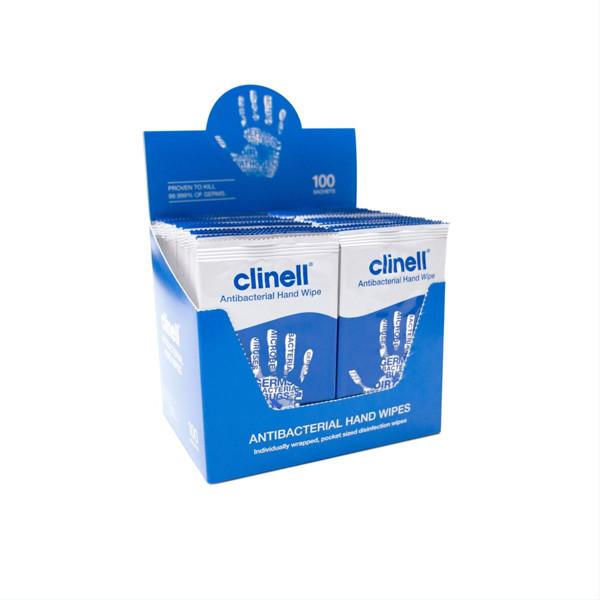 CLINELL, antimikrobinės drėgnos servetėlės rankoms, 100 vnt. paveikslėlis