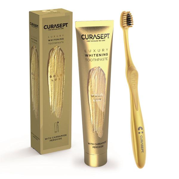 CURASEPT LUXURY GOLD LUX, balinamoji dantų pasta papildyta koloidiniu auksu, 75 ml paveikslėlis