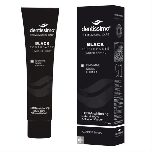 DENTISSIMO EXTRA - WHITENING, juoda dantų pasta, 75 ml paveikslėlis
