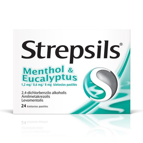 STREPSILS MENTHOL & EUCALYPTUS, 1,2 mg/0,6 mg/8 mg, kietosios pastilės, N24  paveikslėlis