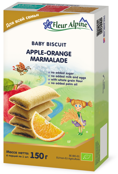 """""""Obuolių-apelsinų marmeladas"""" ekologiški sausainiai FLEUR ALPINE, visai šeimai, 150 g paveikslėlis"""