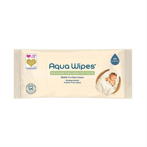 AQUA WIPES, drėgnos servetėlės, 64 vnt., AQW64F paveikslėlis