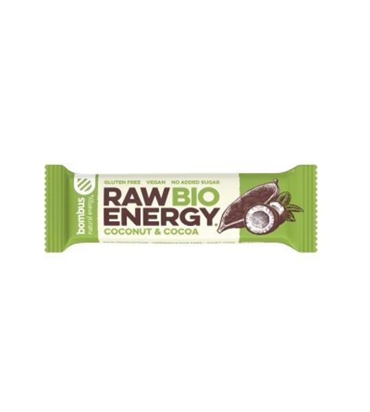 BOMBUS Ekologiškas batonėlis RAW ENERGY,  Kakava&Kokosas, 50g paveikslėlis