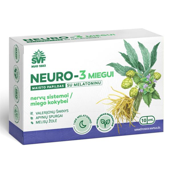 ACORUS NEURO-3, miegui su melatoninu, 10 minkštųjų kapsulių paveikslėlis