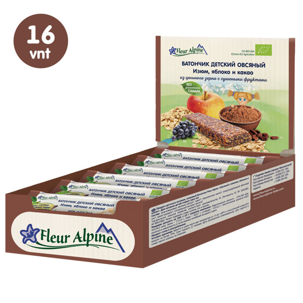 """""""Fleur Alpine"""" ekologiški avižiniai batonėliai su razinomis, obuoliais ir kakava tinka vaikams nuo 3 metų, 23 g x 16 vnt. paveikslėlis"""