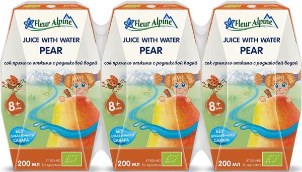 FLEUR ALPINE ekologiškas KRIAUŠIŲ sulčių gėrimas vaikams nuo 8 mėn, 200 ml x 3 vnt. paveikslėlis