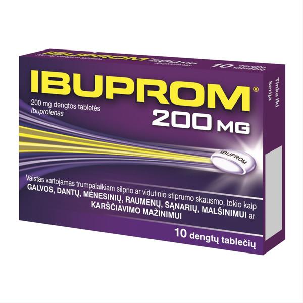 IBUPROM, 200 mg, dengtos tabletės, N10  paveikslėlis