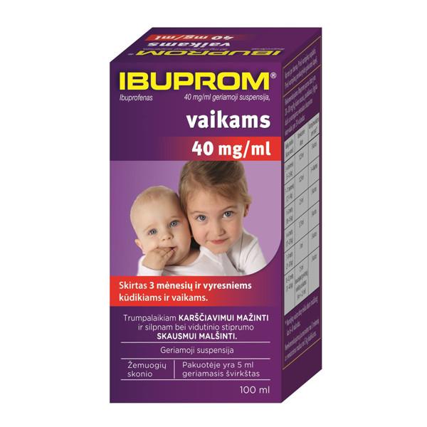 IBUPROM, 40 mg/ml, geriamoji suspensija, vaikams, 100 ml paveikslėlis
