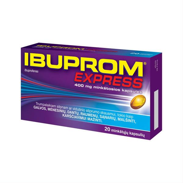 IBUPROM EXPRESS, 400 mg, minkštosios kapsulės, N20  paveikslėlis