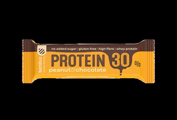 Baltyminis batonėlis Bombus protein 30%, žemės riešutų ir šokolado sk., 50g paveikslėlis