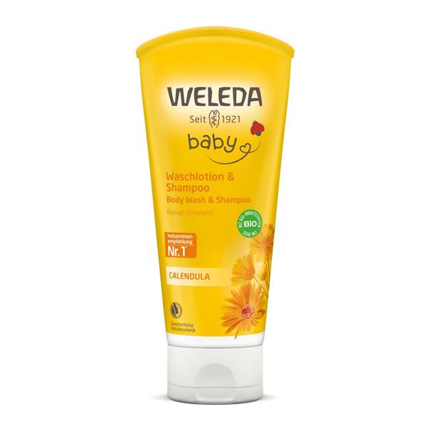 WELEDA CALENDULA BABY, šampūnas ir kūno prausiklis, vaikiškas, su medetkomis, 200 ml paveikslėlis