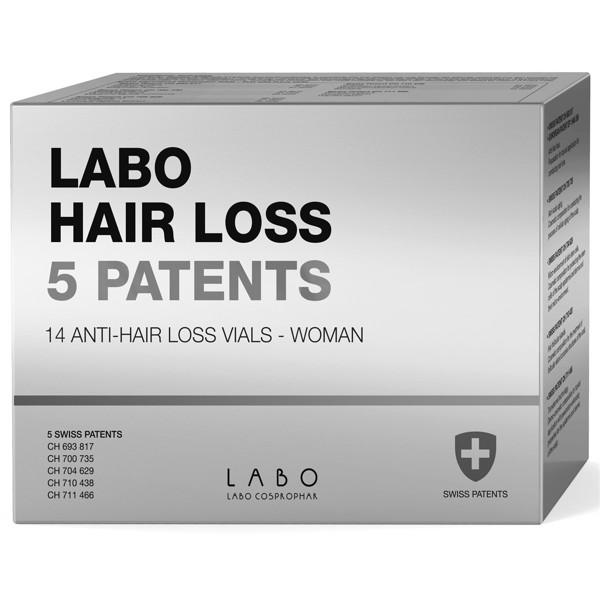 LABO HAIR LOSS 5 PATENTS, ampulės stabdančios plaukų slinkimą, moterims, 1 mėn. kursas paveikslėlis
