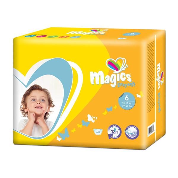 MAGICS EASYSOFT MAGICAL TUBES, vaikiškos sauskelnės, XL, 13-18 kg, 36 vnt. paveikslėlis