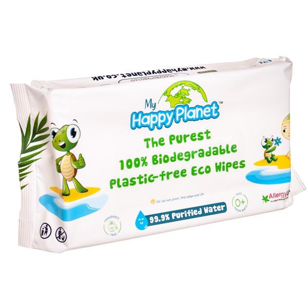 AQUAINT HAPPY PLANET, biologiškai suyrančios drėgnos servetėlės, 60 vnt. paveikslėlis