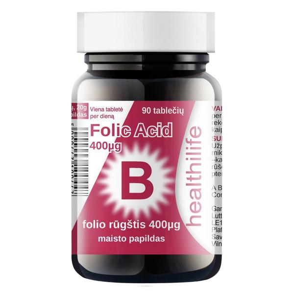 HEALTHILIFE FOLIC ACID, folio rūgštis, 0,4 mg, 90 tablečių paveikslėlis