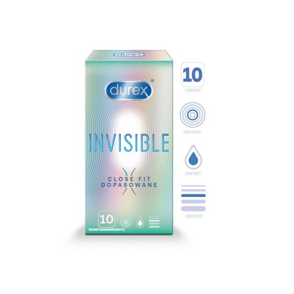 DUREX INVISIBLE CLOSE FIT, prezervatyvai, 10 vnt. paveikslėlis