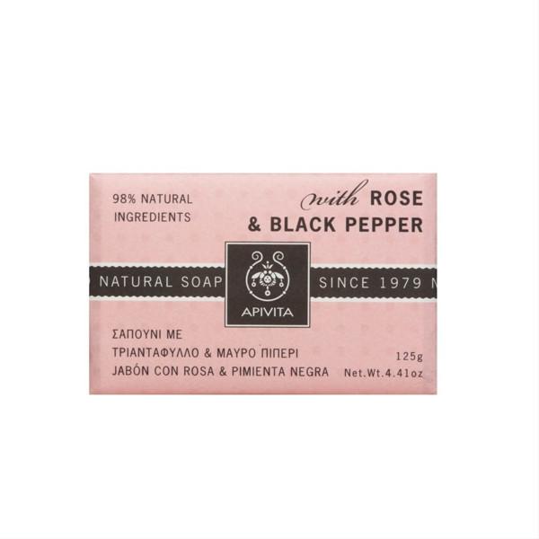 APIVITA NATURAL, muilas su rožėmis ir juoduoju pipiru, 125 g paveikslėlis
