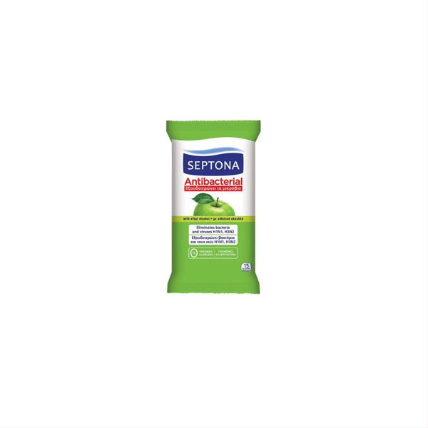 SEPTONA GREEN APPLE, antibakterinės drėgnos servetėlės, 15 vnt. paveikslėlis