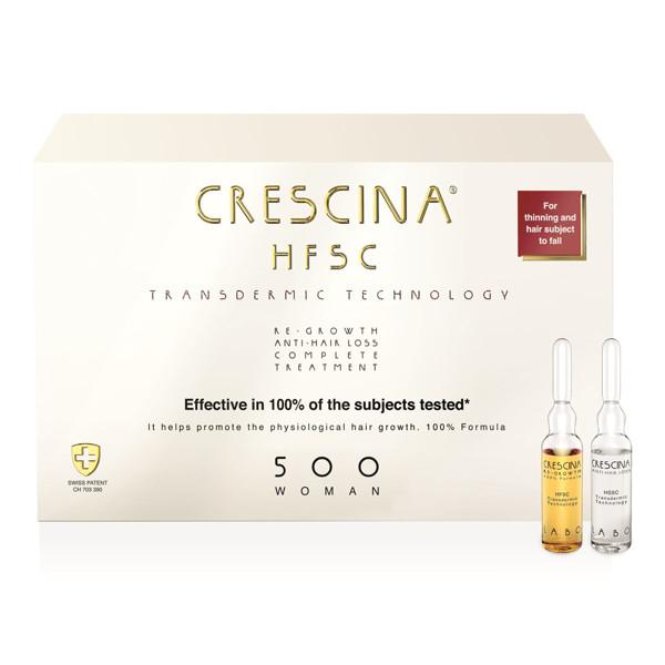 CRESCINA TRANSDERMIC HFSC 500, kompleksas moterims plaukų ataugimui ir slinkimą stabdantis, 3,5 ml, 20 + 20 ampulių paveikslėlis