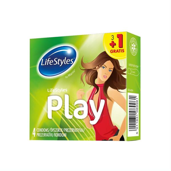 LIFESTYLES PLAY 3+1, prezervatyvai, 4 vnt. paveikslėlis