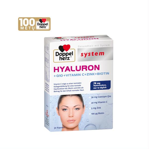 DOPPELHERZ HYALURON + Q10 + VITAMIN C + ZINK + BIOTIN, 30 kapsulių paveikslėlis