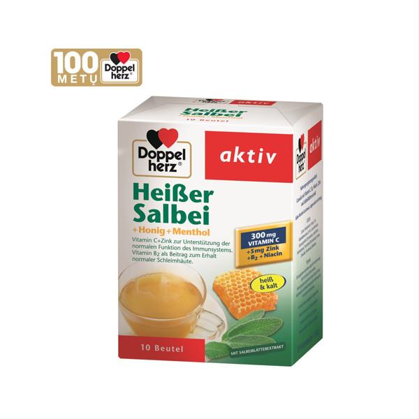 DOPPELHERZ AKTIV HEIBER SALBEI (HOT SAGE + HONEY + MENTHOL), granulės paketėliuose, 10 vnt. paveikslėlis