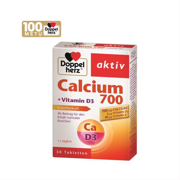 DOPPELHERZ AKTIV CALCIUM 700 + VITAMIN D3, 30 kapsulių paveikslėlis