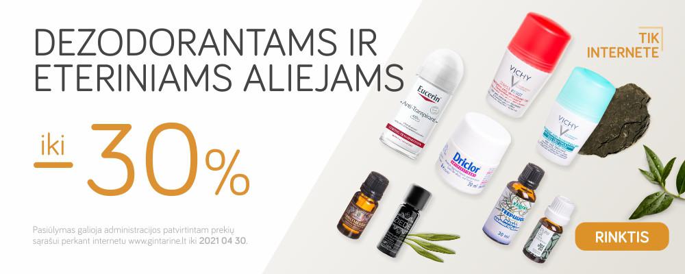 Dezodorantai ir eteriniai aliejai iki -30%