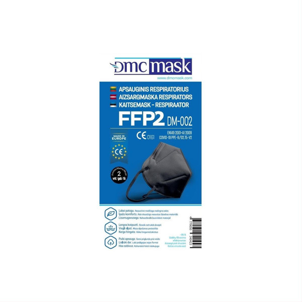 Apsauginis respiratorius FFP2 DM-002 (juodos spalvos), 2 vnt. paveikslėlis