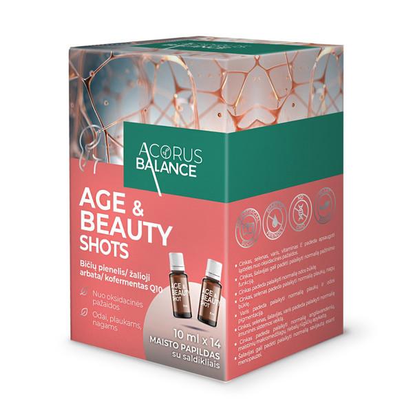ACORUS BALANCE AGE & BEAUTY SHOTS, geriamasis tirpalas buteliuke, 10 ml, 14 vnt. paveikslėlis