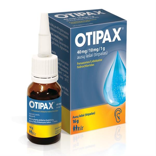 OTIPAX, 40 mg/10 mg/1 g, ausų lašai (tirpalas), 15 ml  paveikslėlis