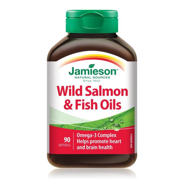 JAMIESON WILD SALMON & FISH OIL, žuvų taukai, 1000 mg, 90 minkštų kapsulių paveikslėlis