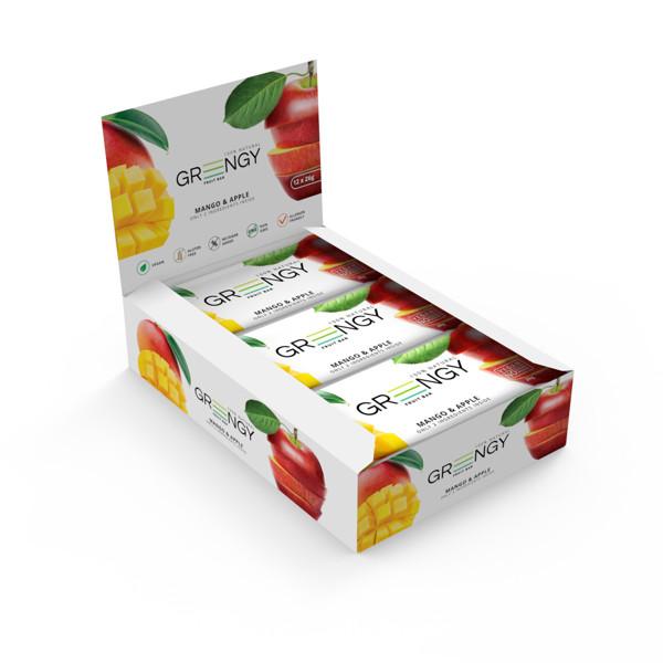 GREENGY vaisiniai batonėliai  su mangais ir obuoliais, 12 vnt x 26g. paveikslėlis