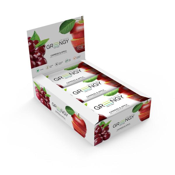 GREENGY vaisiniai batonėliai su vyšniomis ir obuoliais, 12 x 26g. paveikslėlis