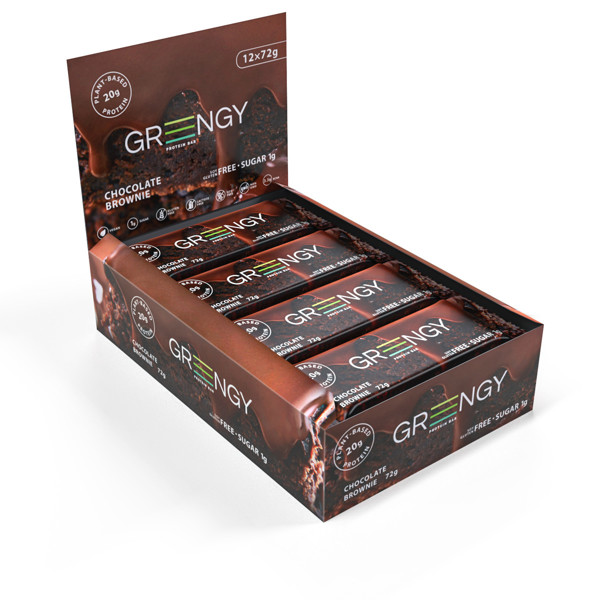 GREENGY baltyminiai batonėliai su šokoladu, 12 x 72g. paveikslėlis