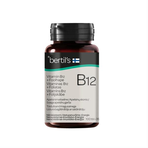 BERTIL'S VITAMINAS B12 + FOLIATAS, 100 čiulpiamųjų tablečių paveikslėlis