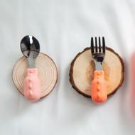 heorshe mažylio šakutės ir šaukšto rinkinys, rožinės spalvos paveikslėlis