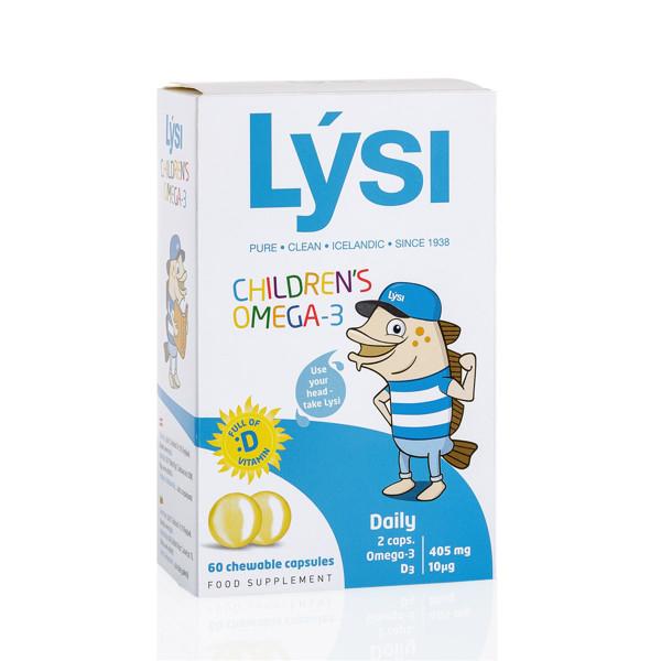 LYSI CHILDREN'S OMEGA -3, Tutti frutti skonio su saldikliu, 60 kramtomosios kapsulės  paveikslėlis