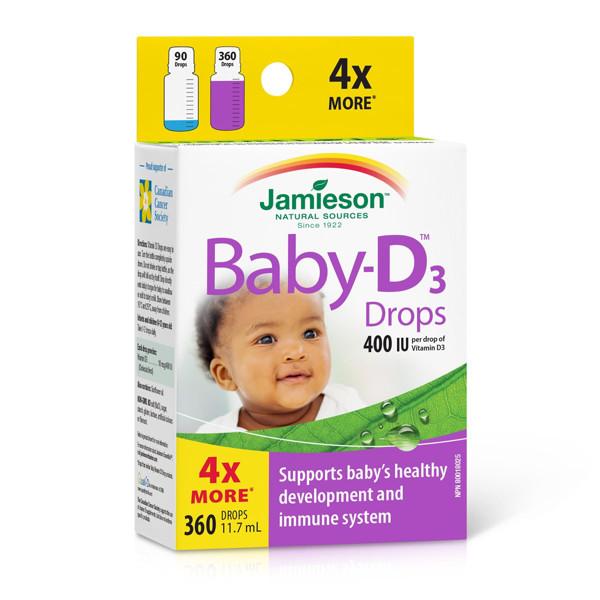 JAMIESON BABY-D, vitaminas D3, 400 TV (10 mcg), lašai kūdikiams, 11,4 ml paveikslėlis