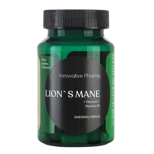 INNOVATIVE PHARMA LION'S MANE + VITAMINAS C, vitaminas B5, smegenų veiklai, 30 kapsulių paveikslėlis