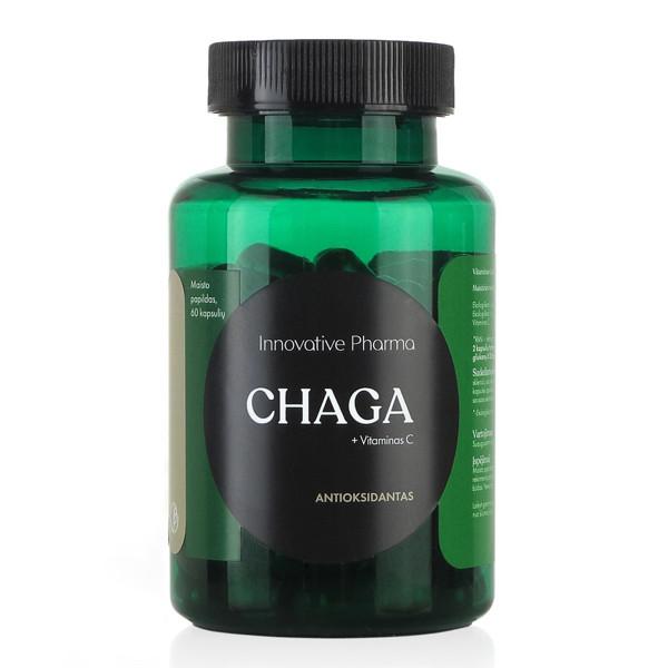 INNOVATIVE PHARMA CHAGA + VITAMINAS C, antioksidantas, 60 kapsulių paveikslėlis